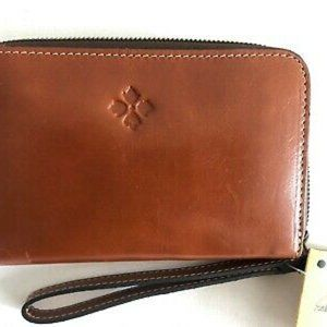 Patricia Nash Ellera Leather Wristlet Wallet Tan